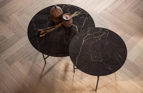 Vida Coffee Table With Marble Look Tabletop Black 40xØ80
