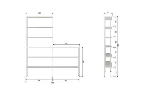 Rack Erweiterung Pfosten Set niedrig Außen Metall Weiß (2er-Set)