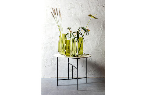 Vida Coffee Table With Marble Look Tabletop White 48xØ60