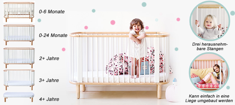 flexa babybett baby 5 in 1 wei buche aus massiver buche. Black Bedroom Furniture Sets. Home Design Ideas